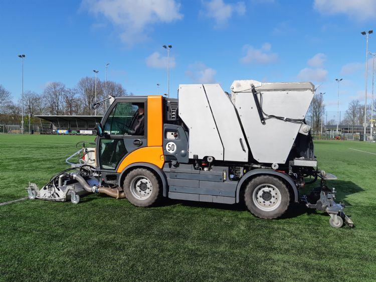 De machine aan het werk in Haarlem