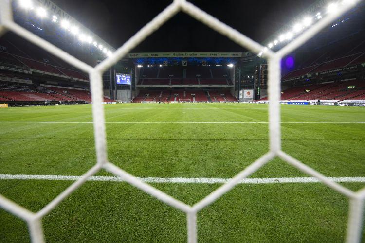 Het stadion in Kopenhagen. De foto is genomen in mei.